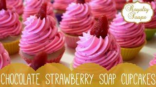 ♕ Chocolate Strawberry Swirl Soap Cupcakes ♕