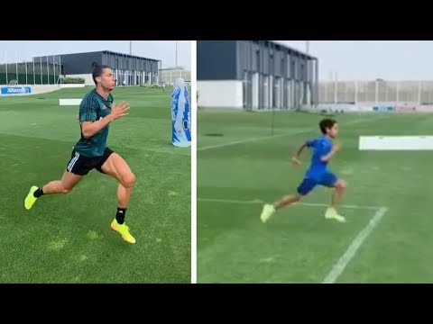 Cristiano Ronaldo and CR7 Jr training together in new video