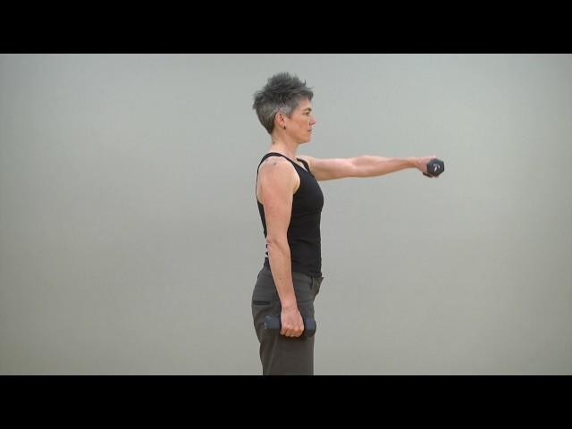 Front raise shoulder flexors strengthening (standing)*