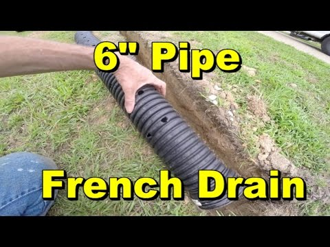 Yard Drain, French Drain, 6 INCH PIPE, Gravel, Catch Basins, Apple Drains Drainage Contractors