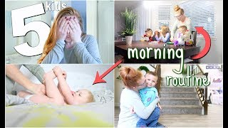 RAW un-edited Morning Routine w/ 5 KIDS (school day)