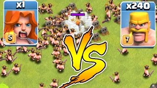 Clash Of Clans - 240 MEN Vs. 1 VALKYRIE!!! Glitch?!? (Troll Raids)