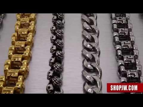 Mens Stainless Steel Bracelets and Chains – Modern, Cuban Link, ID, Biker || Shopjw