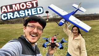 THAT WAS CLOSE!!! - FPV Drone Racing an RC Airplane - TheRcSaylors