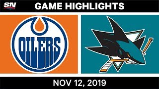 NHL Highlights | Oilers vs Sharks – Nov. 12, 2019