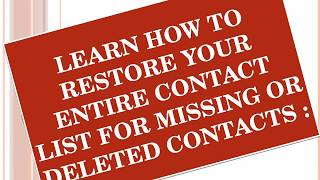 How To Restore Deleted Or Missing Contacts In Yahoo Mail
