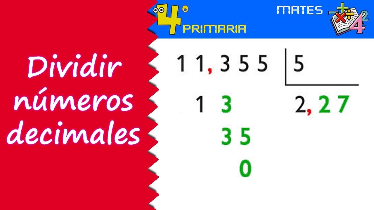 Matemáticas. 4º Primaria. Tema 8. División de números decimales
