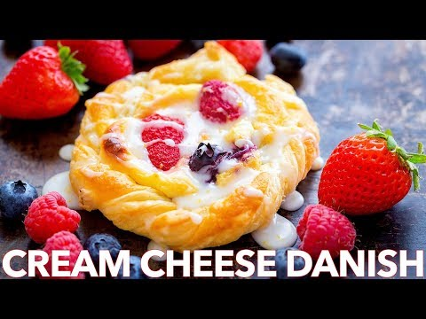 Cream Cheese Danish Recipe with Berries and Lemon Glaze