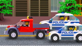 LEGO Police Car Chase .  Policemen catch the robber . Lego Cartoon for Kids