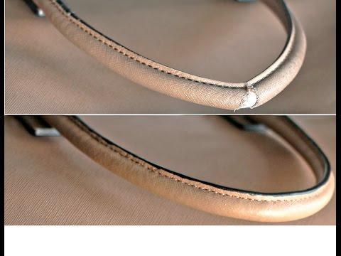 Ремонт и покраска протертой ручек из кожи на сумке Coccinelle. Элитный ремонт и реставрация сумок
