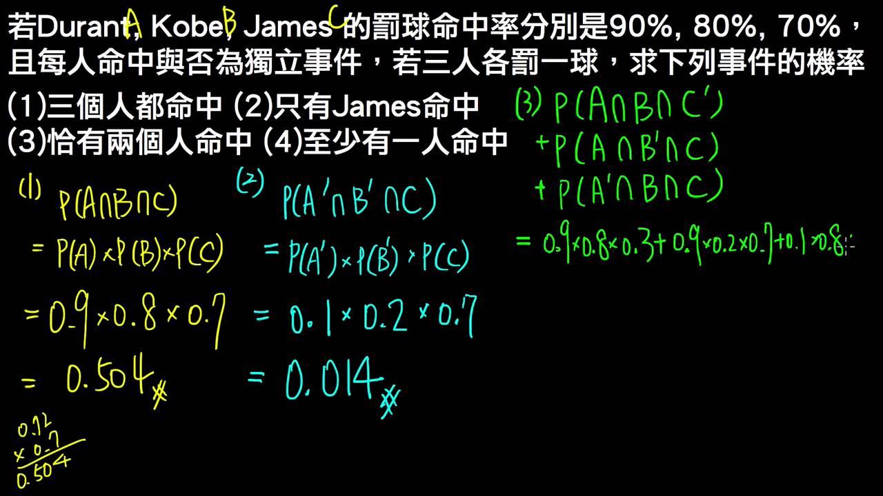 高一下數學3-3B例題05事件獨立與其性質   條件機率與貝氏定理   均一教育平臺