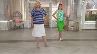 Denim & Co. Classic Waist Colored Denim Skirt On QVC