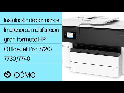 Cómo instalar cartuchos de tinta en las impresoras multifunción de gran formato HP OfficeJet Pro de las series 7720/7730/7740