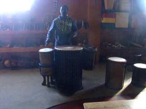 Aboucar Kouyate sampling large doundouns at Motherland Music