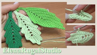 How To Crochet Two-Side Leaf With Chain Spaces Tutorial 1 Folha Simples De Crochê