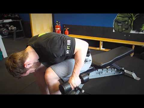 Seated Bent Over One-Arm Dumbbell Tricep Kickback