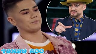 Boy George's heated exchange with the Voice contestant Sheldon Riley