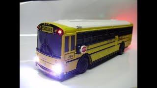 Custom Thomas Built Saf T LIner HDX diecast school bus model with working lights