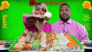 Sushi Mukbang/10 Different types of Sushi!/ Over 75 Pieces