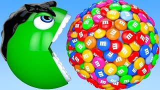 Learn Colors with PACMAN and Farm Hulk 3D m&m Surprise Toy Street Vehicle for Kid