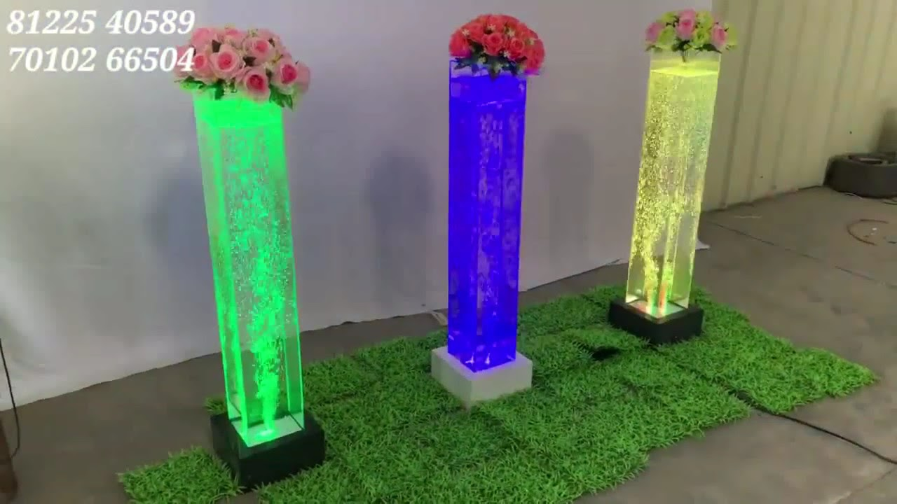 Water Bubble Pillar Flower Decoration For All Events New Concept Design India +91 8122540589
