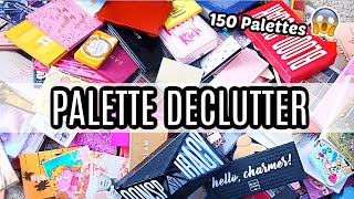 HUGE EYESHADOW PALETTE DECLUTTER - GETTING RID OF 50% OF MY PALETTES!