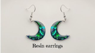 Simple Half Moon Resin Earrings/making Beautiful Resin Earrings/wire Bezel Crescent Moon /diy