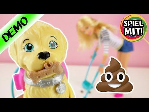 Barbie mit Hund   Ist er Stubenrein?   Hund kann laufen und kacken   Barbie macht alles sauber!