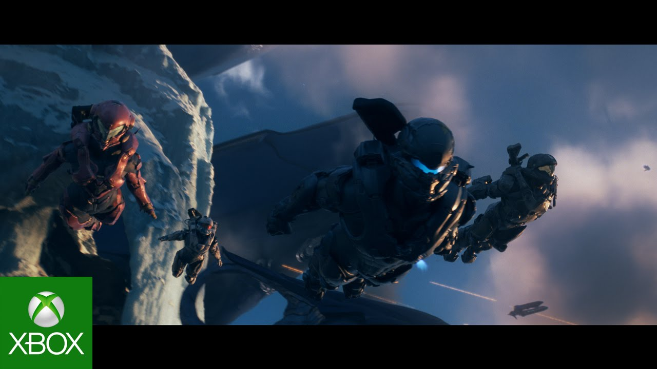 screen capture from video where 4 spartans are freefalling into a battle