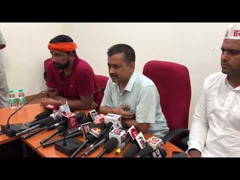 Delhi CM Arvind Kejriwal Along with Haryana State Convenor Naveen Jai Hind Briefs Media at Rohtak