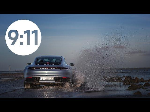 Porsche 911 sur le passage du gois