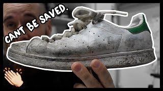 CLEANING FILTHY SNEAKERS FAIL!!! STAN SMITH DEFEATED ME!