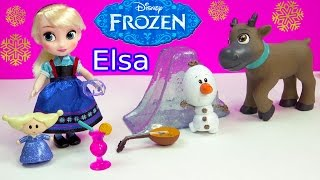 Queen ELSA Mini Doll Disney Store Animators Collection Frozen Movie Mini Doll Playset Olaf Unboxing