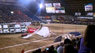 pocatello monster truck  motorcycle red jump