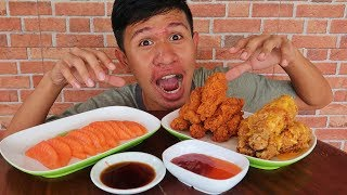 ดิบ VS สุก | อดข้าว24ชั่วโมงกิน แซลมอน vs ไก่ชีส vs ไก่เผ็ด