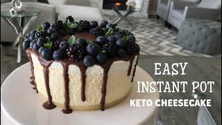 Instant Pot Keto Cheesecake Drizzled with Low-Carb Chocolate Ganache