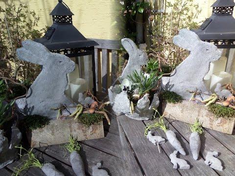 Osterhase aus Beton - Frühlingsdeko mal anders