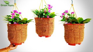 DIY Beautiful Hanging Coir Basket | Hanging Basket At Home | DIY Hanging Flower Basket//GREEN PLANTS