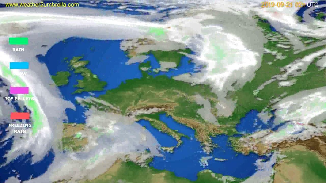 Precipitation forecast Europe // modelrun: 00h UTC 2019-09-19