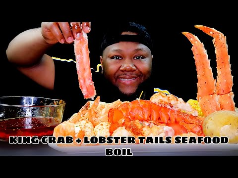 KING CRAB + LOBSTER TAILS SEAFOOD BOIL | MUKBANG