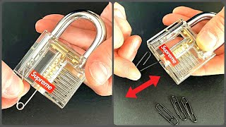 Open Transparent Lock Using Paper Clip And Safety Pin 2 Ways