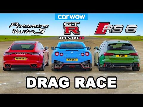 Nissan GT-R NISMO v Audi RS6 v Panamera Turbo S: DRAG RACE