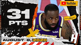 LeBron James 31 Points 7 Ast Full Highlights | Lakers Vs Pacers | August 8, 2020