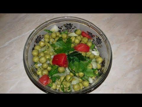 Очень простой и вкусный салат из консервированного горошка за 5 минут.