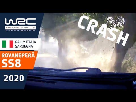 SS8でクラッシュしてしまうヤリスWRC。トヨタGazooRacingのロマンペラ。WRC ラリー・イタリア・サルディニア衝撃のクラッシュ映像
