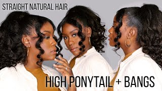 Easy Detailed High Ponytail with Bangs Tutorial on Straightened Type 4 Natural Hair