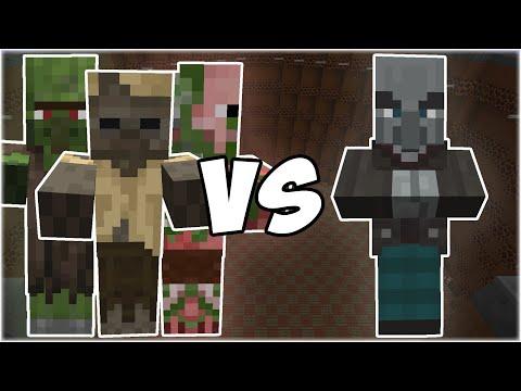Zombie Villager + Husk + Zombie Pigman vs Vindicator