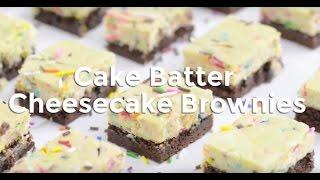 Cake Batter Cheesecake Brownie Bars