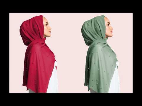 Plain Georgette Pearl Work Scarf Hijab