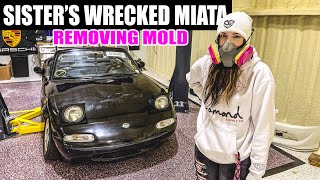 Rebuilding my little sister's Miata pt. 1 - REMOVING MOLD/Super Cleaning the Interior! by Evan Shanks